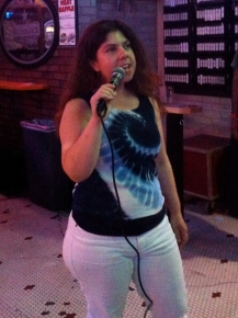 karaoking at Casey's show at Otter's Saloon in NE Mpls June 16, 2013 zoomed in