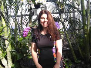 basking in plants and warmth at Conservatory w orchids & ferns March 2016